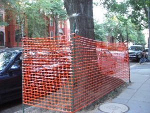 Orange mesh fencing surrounds 15th Street tree boxes from P to Corcoran. Why?