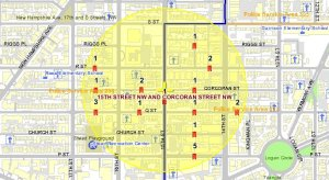 August 2008 Crimes in Borderstan; 1,000-foot radius from 15th and Corcoran Streets NW.
