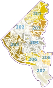MPD's Second Police District; PSA 208 is in the lower right-hand corner. (Image from MPD Web site.)
