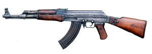 An AK-47, an automatic asault rifle. (Image from Wikipedia.)