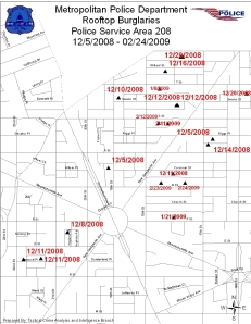 MPD map shows recent rooftop burglaries in the Dupont Circle area. (Map: MPD PSA 208.)