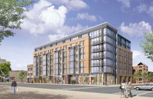 Artist rendering of the development planned for west side of 14th Street NW between S and Swann Streets. (Image: JGB Companies via DCmud.)