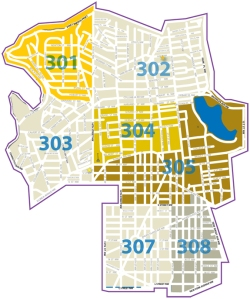 The MPD Third District. East Borderstan is part of PSA 307. (Image: MPD Web site.)