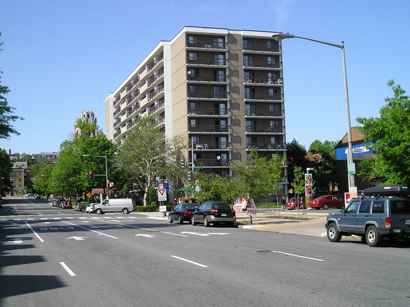 Northeast corner of 15th and U NW. The Campbell Heights apartment complex was built in 1978, replacing The Dunbar Hotel. (Image: Greater Greater Washington site.)