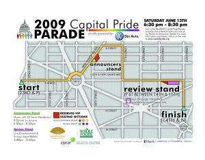 Look for MTV crews shooting B-roll at the Capital Pride Parade this Saturday. (Map: Capital Pride Web site.)