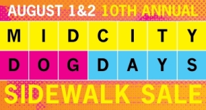 MidCity Business' 10th annual Dog Days sidewalk sale is Aug. 1 & 2. (Image: MidCity Business Association.)