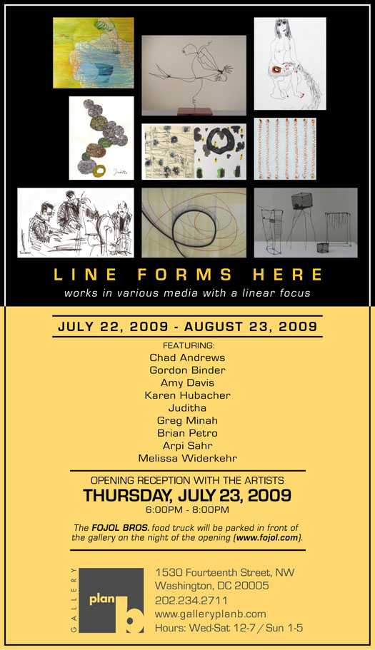 """Line Forms Here"" is the new exhibit at gallery plan b in Borderstan, 1530 14th Street NW. (Image: gallery plan b.)"