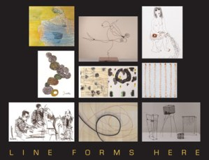 """""""Line Forms Here"""" is the new exhibit at gallery plan b in Borderstan at 1530 14th Street NW. It runs through Sunday, August 23. (Image: gallery plan b.)"""