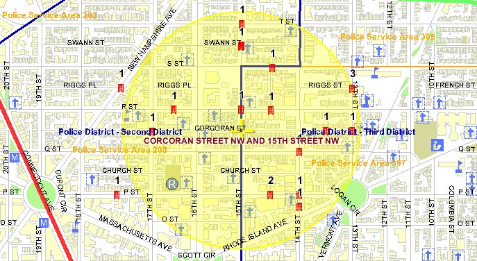 This map shows the location of violent crimes that occurred in the Borderstan crime area in May and June 2009. (Map and statistics: MPD Crime Search database.)