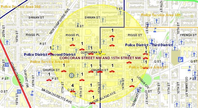 This map from MPD's crime database shows the location of thefts-from-autos in Borderstan in July 2009.