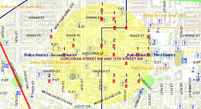 This map, from the MPD crime database, shows the location on violent crimes in the May through July 2009 period.