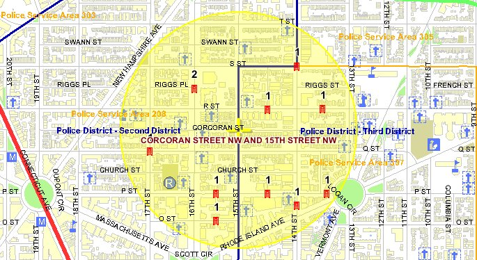 This map shows the locations of the 11 violent crimes that occurred in the Borderstan crime area (highlighted in yellow) between July 14 and August 13. There were 7 robberies with a gun, 3 robberies with a gun, and 1 assault with a deadly weapon (no gun). Source: MPD Crime Search database.