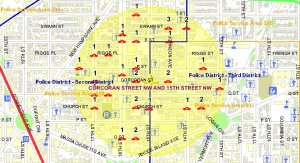The location of thefts-from-autos in August 2009 in the Borderstan crime reporting area. (Source and image: MPD crime database.)