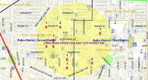 Location of the 11 violent crimes in the Borderstan crime area in August 2009. (Source and image: MPD crime database.)