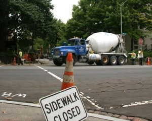 The Corcroan Street sidewalk project got underway Wednesday morning. (Photo: Luis Gomez)