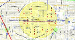 Click to enlarge: This map shows the location of violent crimes between July 24 and September 22 in the Borderstan crime reporting area. (Image: MPD Crime Search database)