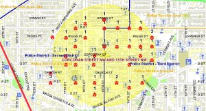 Click to enlarge: Of the 64 Borderstan robberies between Jan. 1 and Sept. 30, 2009, a total of 43 were committed without a gun; those without guns are shown here. (Map: MPD crime database)