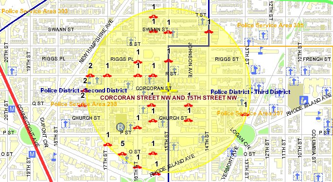 Click to enlarge: Thefts from autos are the most common type of crime in the Borderstan area; there were 30 in September 2009. This map shows a concentration west of 15th St. NW. (Map: MPD crime database)